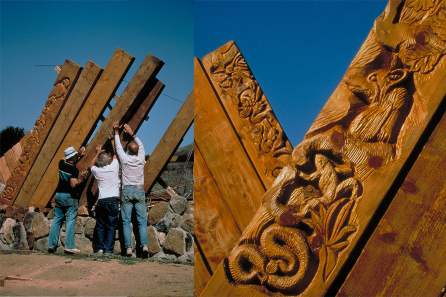 Volunteer work day at Volcan Mountain. / Wood carvings of native plants and animals.