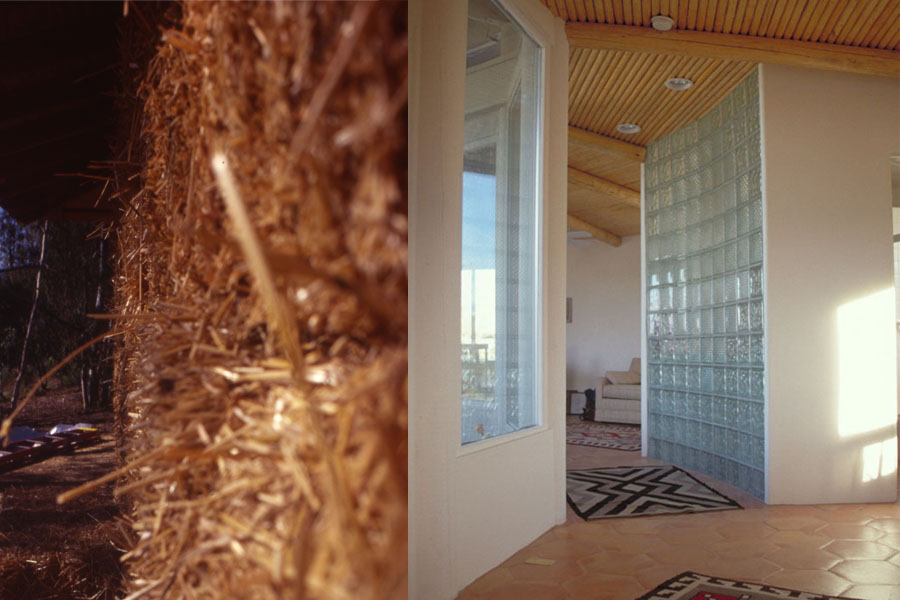 Stawbale wall during construction. / Interior showing glass block. Photos by Drew Hubbell.