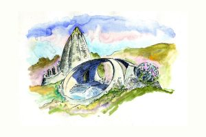 Bridge to Nature watercolor by James Hubbell. organic architecture-modern-hubbell and hubbell-san diego,california
