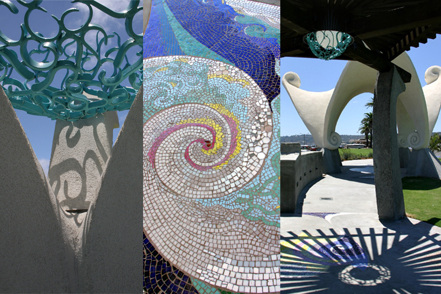 Monument Detail. Photo by Drew Hubbell. / Mosaic Tile Floor. Photo by John Dick. / Trellis and Gazebo. Photo by John Ruzicka.