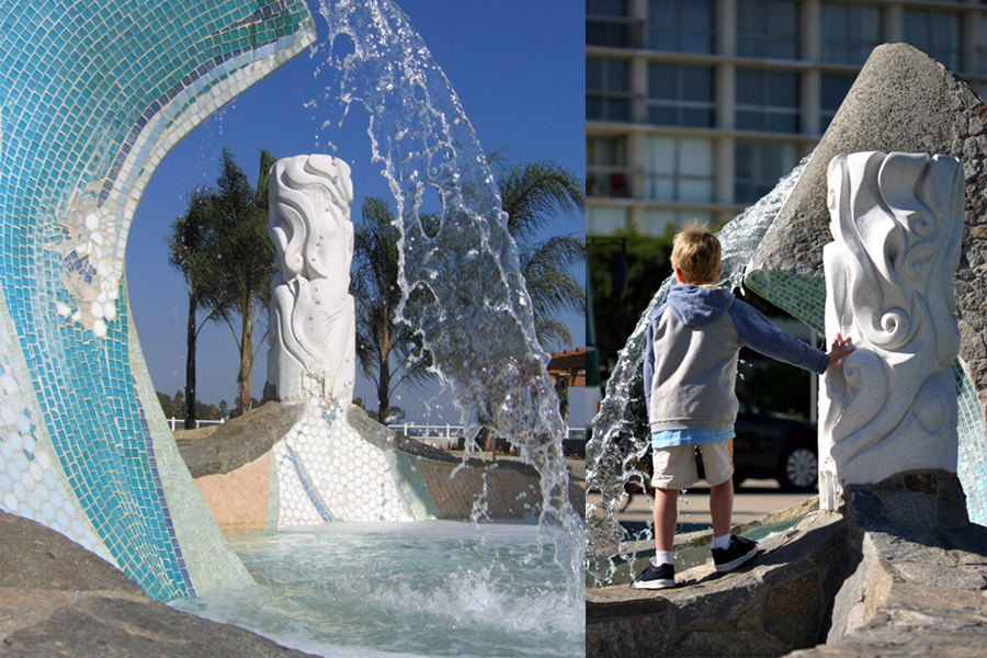 Sea Passage Fountain. Photo by Kellyn Sanderson. / Child playing on fountain. Photo by John Dick.