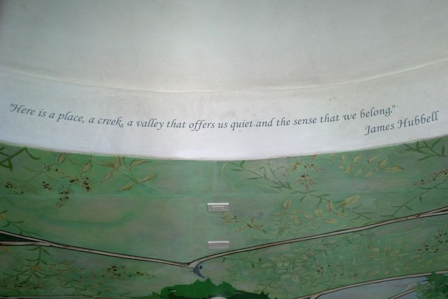 Quote from James Hubbell on ceiling.