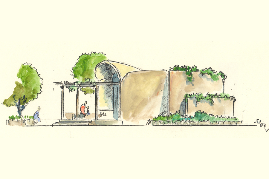 Elfin Forest Interpretive Center Water Color Rendering by James Hubbell