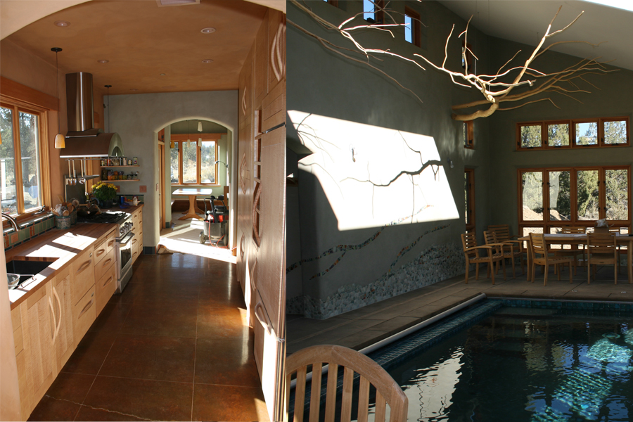 The warm feel of a wood kitchen. / Indoor pool.