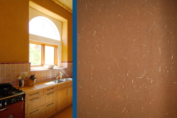 Natural clay wall finish.