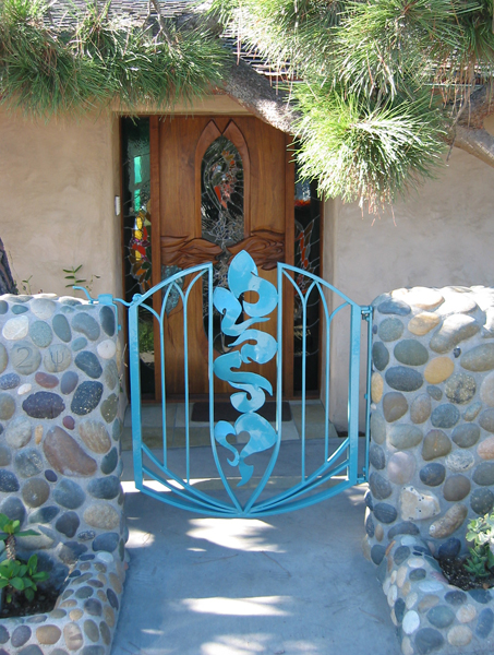 Leucadia Beach House. Front gate & door by James Hubbell.