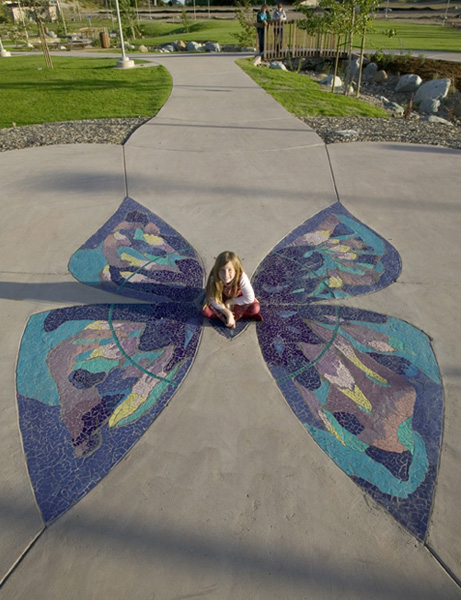 Briercrest Park. Butterfly mosaic by James Hubbell. Photo by John Durant.