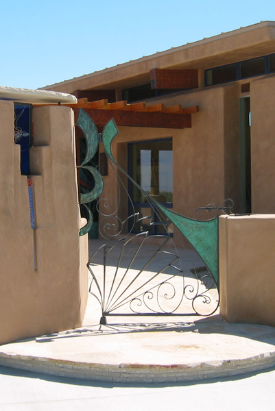 Smoketree Ranch. Courtyard gate and light post by James Hubell