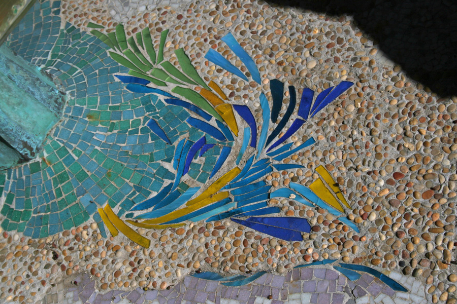 Ilan-Lael Property. Mosaic detail near pool.
