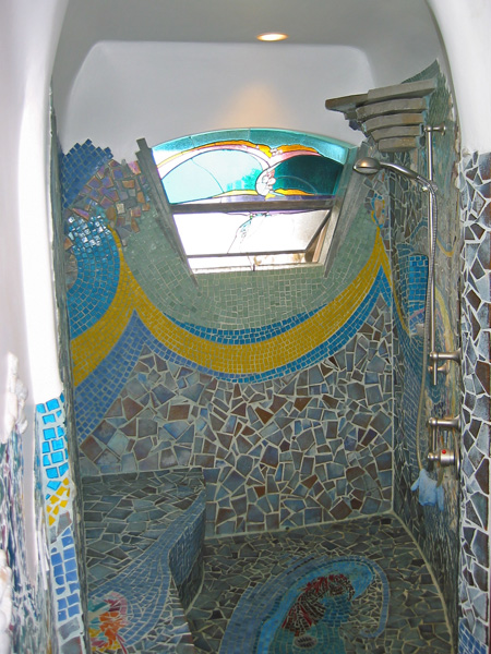 Leucadia Beach House. Shower mosaic by James Hubbell.