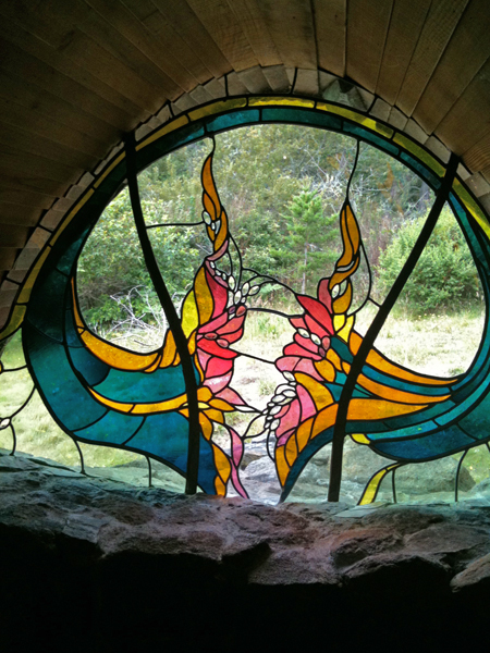 Sea Ranch Chapel. Stained glass by James Hubbell.