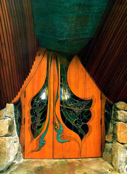 Sea Ranch Chapel. Door from exterior.