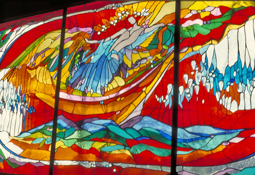 St. Elizabeth Church. 'Red Sunset' stained glass by James Hubbell.
