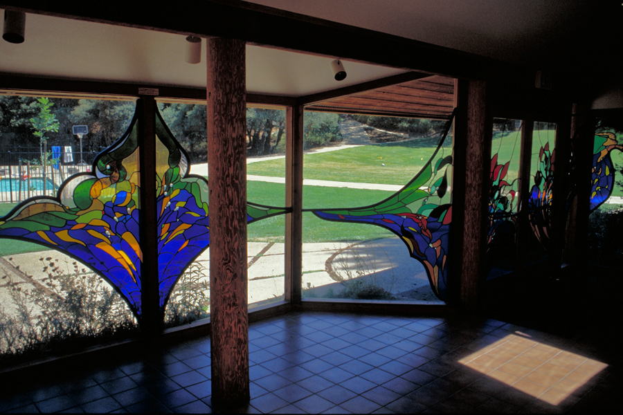 Camp Stevens. Stained glass by James Hubbell.