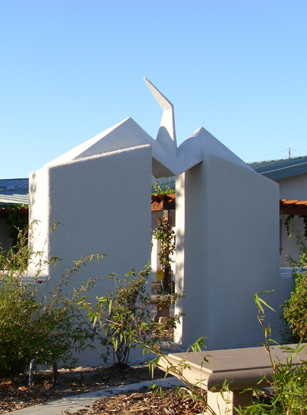 Friends Center. 'Peace Crane' sculpture by James Hubbell.