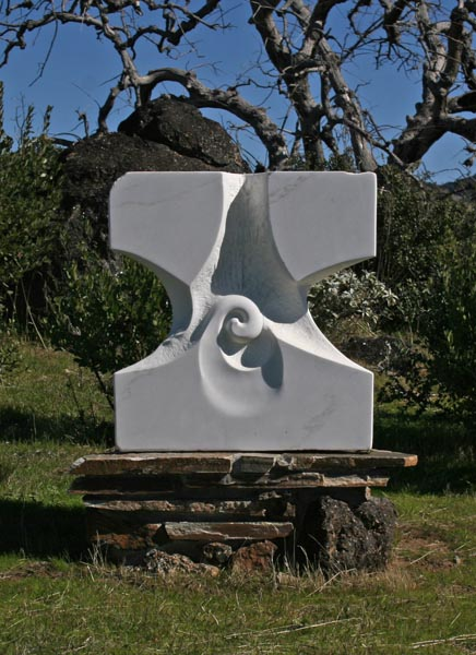This marble sculpture was placed on the Ilan-Lael property as a memorial to Firefighter Steven Rucker.