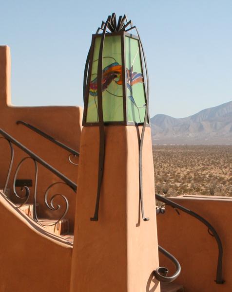 Smoketree Ranch. Iron and glass lightpost.