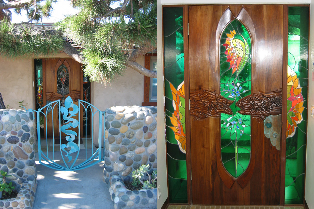 Front Gate and Stained Glass Door by James Hubbell.