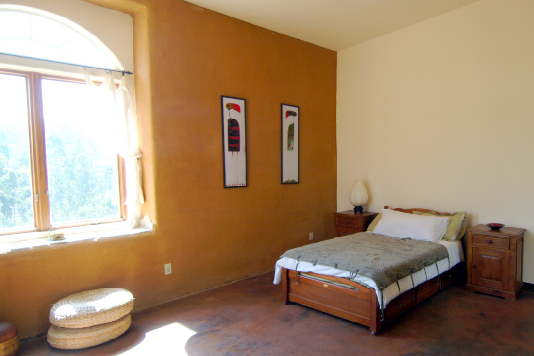 Bedroom with clay plaster wall.