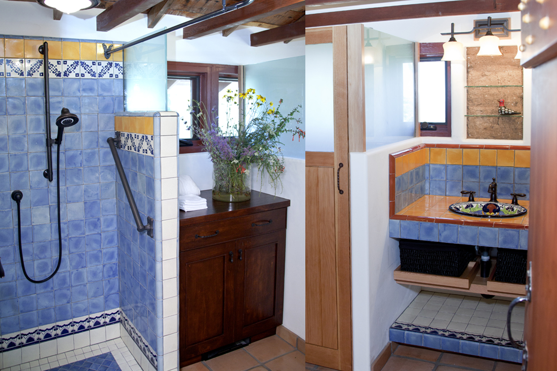 Casita Kitchen. Photo by Lori Brooks. / View of adobe walls behind bathroom sink. Photo by Drew Hubbell.