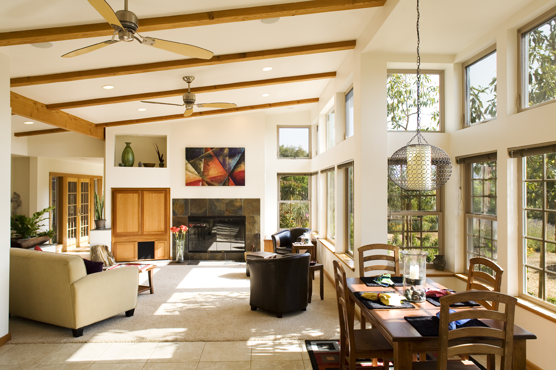 Open-plan interior with hillside views. Photo by Scot Conti.