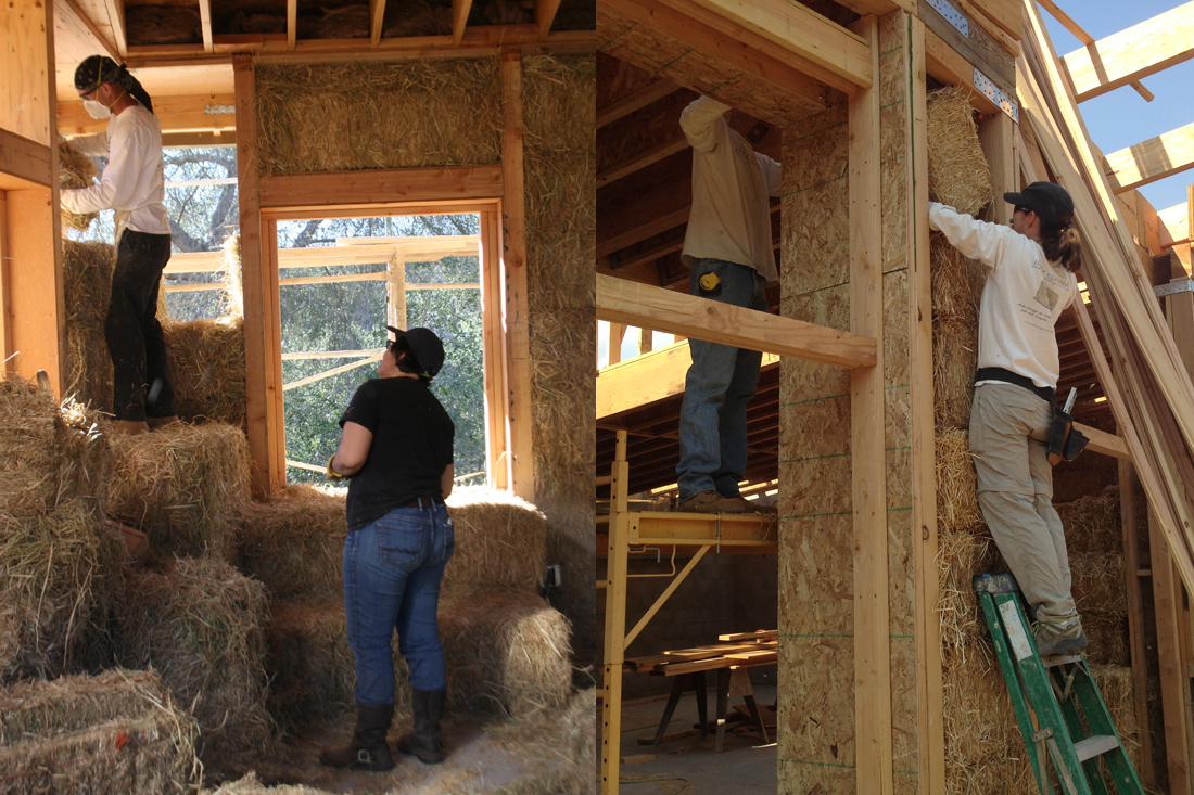 Bales are fitted into openings.