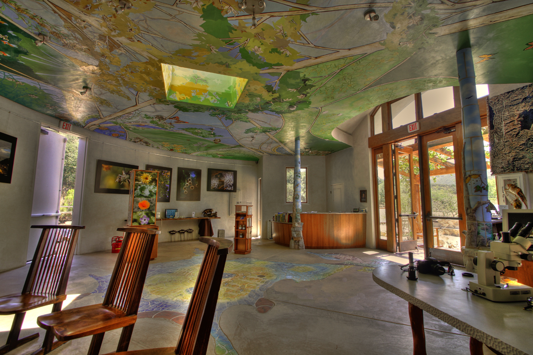 Interior with mural ceiling and mosaic floor. Photo by Natalie Hein.