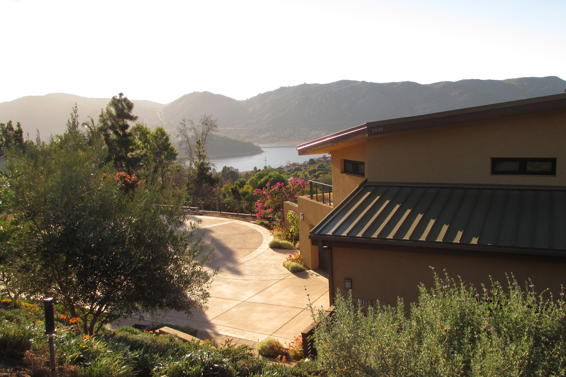 View of Lake Hodges in background.
