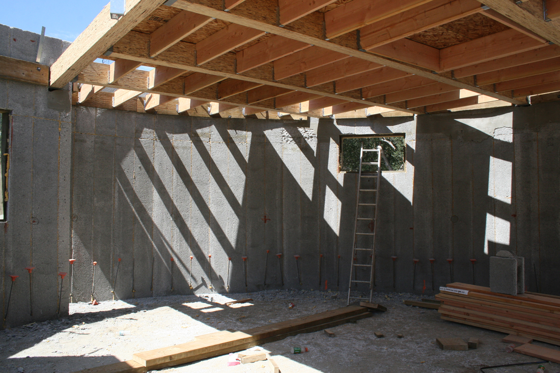 Inside building with perform walls.