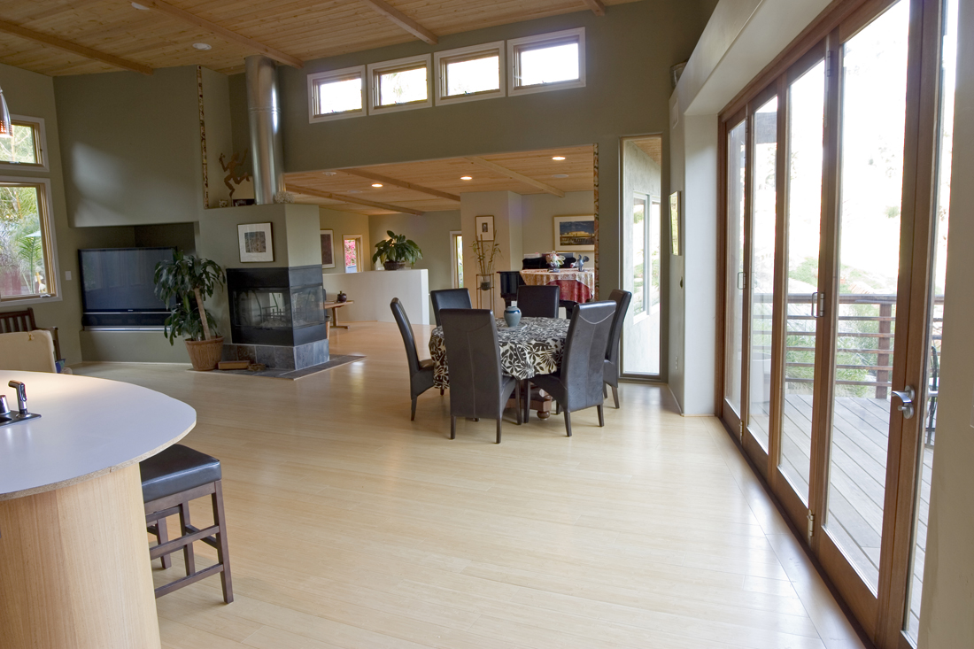 Living room with clerestory windows.