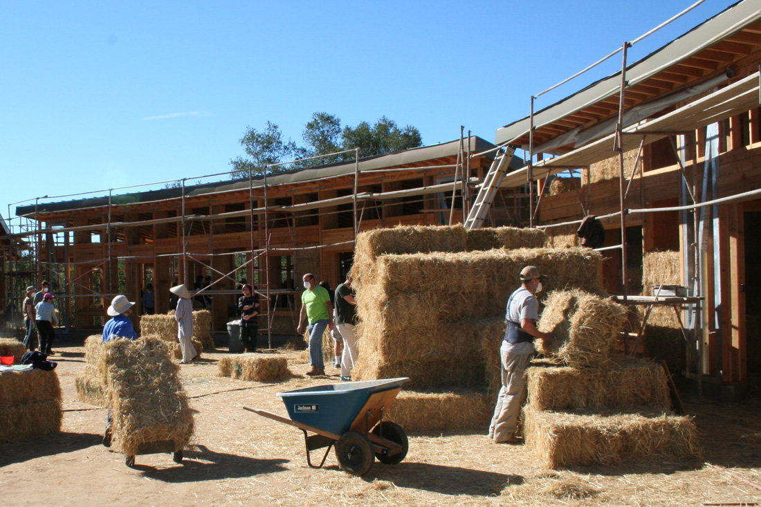 Strawbale construction at Deer Park Monastery.