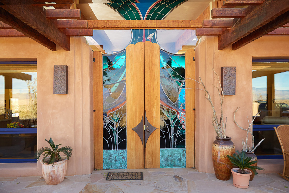 Stained glass double doors by James Hubbell.