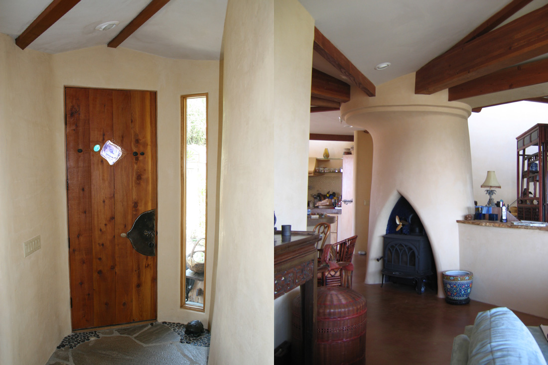 Entry area and central fireplace.